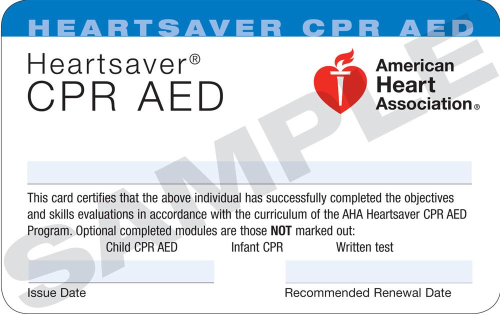 AHA CPR AED CARD